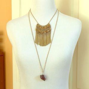 Jewelry - Fringe & Stone Gold Multi-Strand Long Necklace